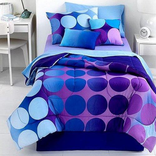 3piece purple to blue polka dot bedding set