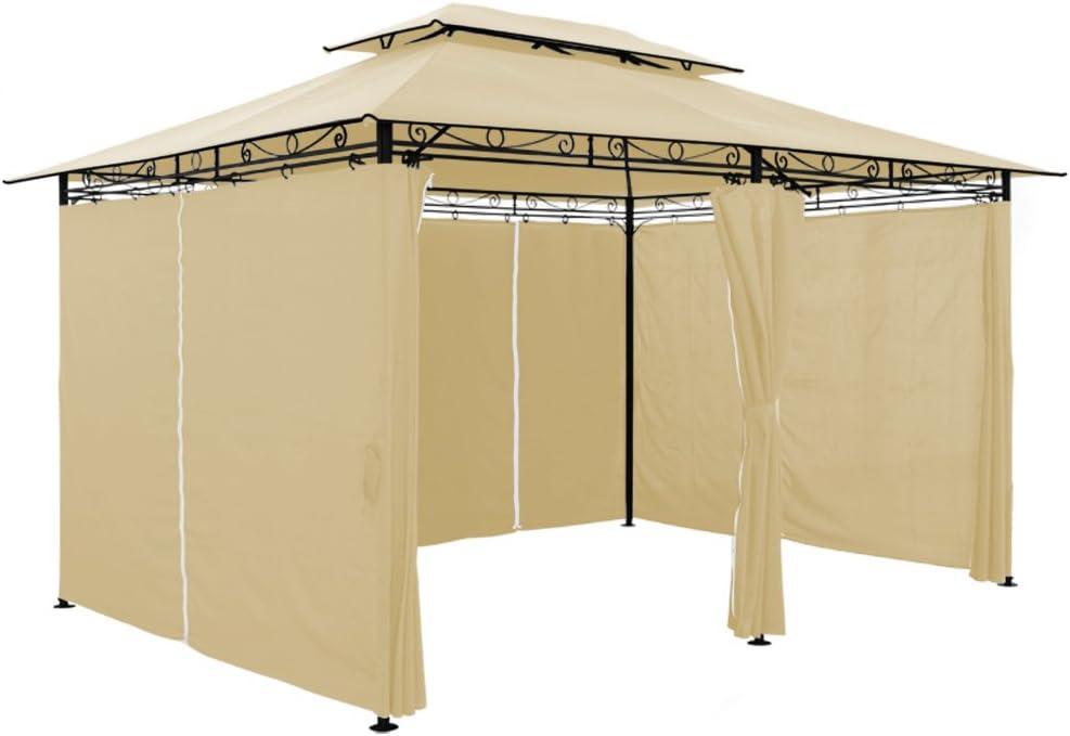 4 x 3 m - Metal Gazebo toldo Canopy - Beige pavillón carpa Marquee ...