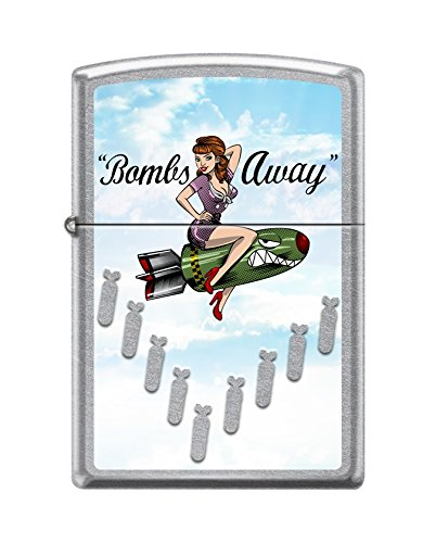 (Zippo Custom Lighter Design Sexy Lady Riding A Bomb with Bombs Away Inscribed Windproof Collectible - Cool Cigarette Lighter Case Made in USA Limited Edition & Rare)