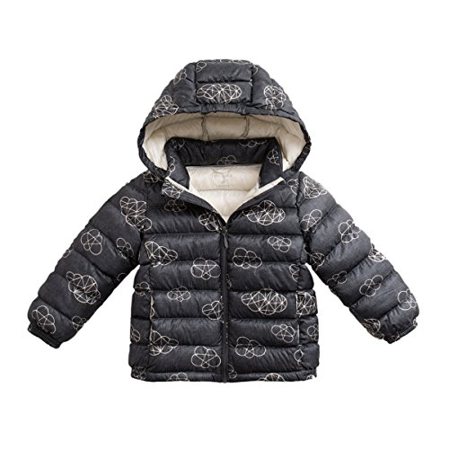 - marc janie Girls Boys' Lightweight Packable Hooded Down Puffer Jacket 18 Months Clouds Printed