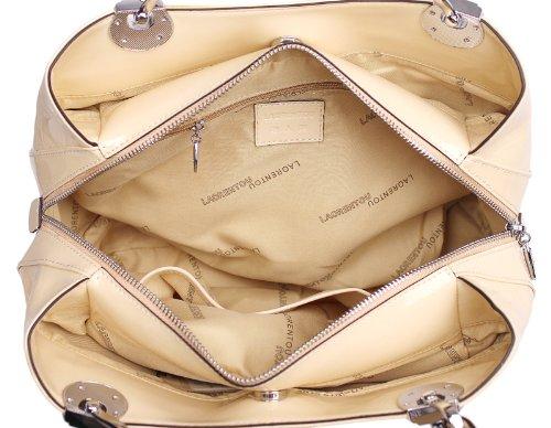 Sac à main en cuir véritable de taille moyenne crocodile femmes sac fourre-tout mode 138005(beige)