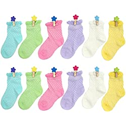 YULI Kids Baby Boys Girls Solid Bright Pastel Rainbow Colorful Lace Ruffle Crew Dress Socks,3-5 Years,12 Pairs