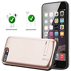 iPhone 8 Plus Battery Case, [Compatible With EarPhone] Tiitarn 8000mAh Protective Charging Case Portable Power Charger Case for Apple iPhone 8 Plus/7 Plus/6s Plus /6 Plus (Rose Gold)