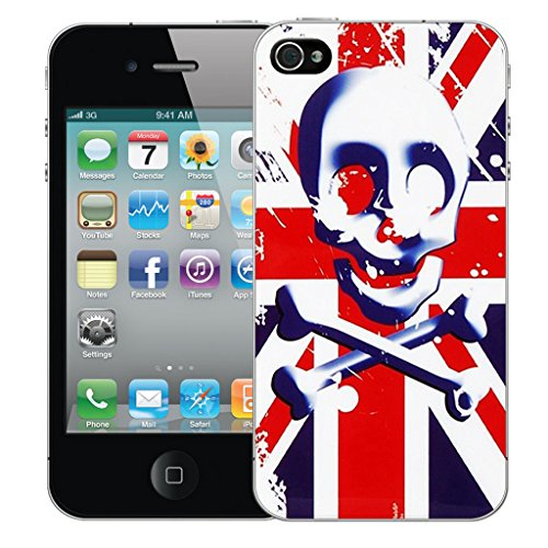 Mobile Case Mate iPhone 4s Silicone Coque couverture case cover Pare-chocs + STYLET - Red Skull Flag pattern (SILICON)