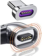 Magnetic USB C to C Charging Cable Adapter Right Angle USB-C Type C Cable Convert 100w PD Charge 480Mbp/s Data Transfer Compatible with MacBook Pro/Air Smartphone Tablet USB-C Devices-Black
