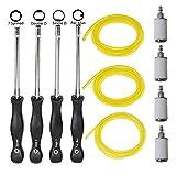 SaferCCTV 4pcs Carburetor Carb Adjustment Tool Kit Set(Splined, Pac Man, Single D, Double D Stytle), 4pcs Fuel Filter, 3pcs 6Feet Differet Size Fuel Line for 2 Cycle Engine
