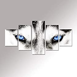 Hello Artwork - Large Canvas Wall Art Black White Wolf Dog Blue Eyes Poster Animal Face Head Series 5 Pieces Abstract Picture Painting Home Decor Wall Art