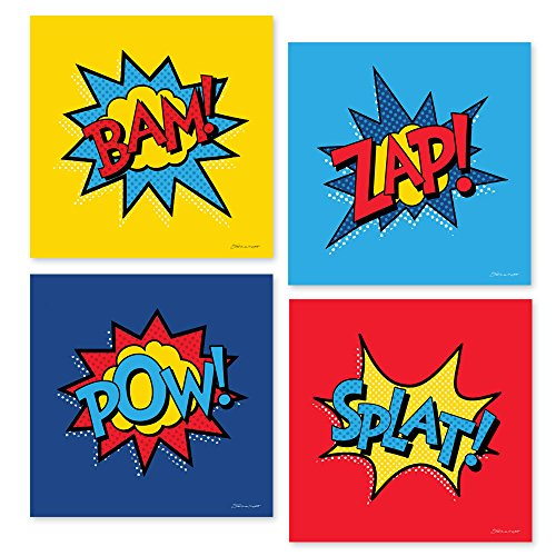 Set of Four Superhero Action Words Unframed Art Prints 8x8 Inches Boy's Room Bedroom Comic Book Wall Decor -
