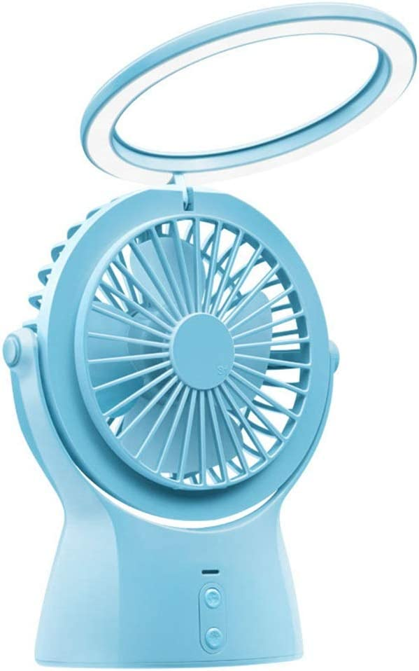 Jajx-comac USB Personal Desk Fan Summer Multi-Function Small Night Lamp Charging USB Fan Desktop Office Mini LED Desk Lamp Fan for Home Office Table Color : Blue
