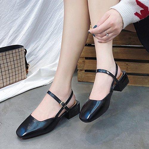 Plaza Con Zapatos De Un Sandalias Con GAOLIM Gruesas Estudiantil Femenina Zapatos Número Solo Gran Negro Verano Baotou nzBUnWqxw0