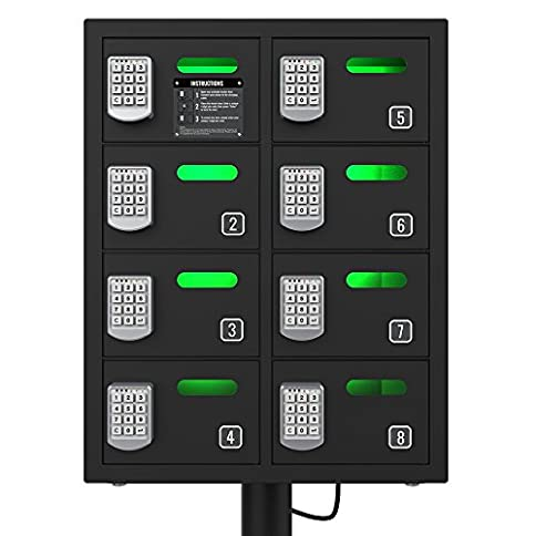 - 51uKz0cntDL - ChargeTech Secure Cell Phone Charging Station Locker w/8 Digital Combination Locking Bays – Multi-Port Charging Locker with Universal Charging Tips Included for All Devices (Model: PL8) [Black]