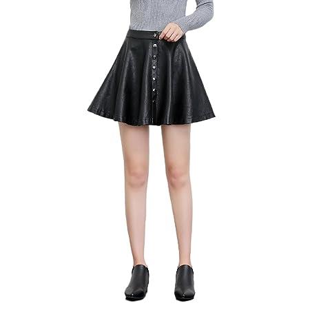 LINSYT Falda de cuero delgada de cintura alta de mujer Falda de ...