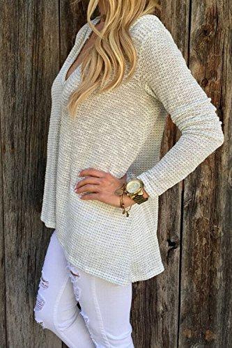 Tops de manga larga blusa de punto con cuello en v mujer camiseta túnicas
