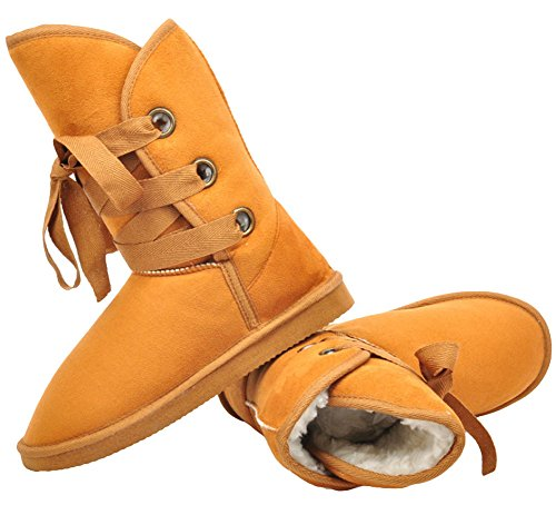 King Women's Ankle Buckle Fur Shoes Ma up Faux Camel Suede Lace Winter Boots rrzRqxn6