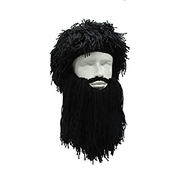 873fd8abedb ... Men S Women S Crazy Wig Beard Savage Beanie Vagabond Hats Handmade  Winter Birthday Gifts Funny Ski Mask Halloween Caps  Amazon.co.uk  Sports    Outdoors