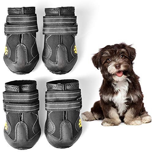 Boots Skid Dog (WUXIAN Waterproof Dog Shoes,Dog Outdoor Shoes, Running Shoes for Dogs,Pet Rain Boots, Labrador Husky Shoes for Medium to Large Dogs,Rugged Anti-Slip Sole and Skid-Proof- 4Pcs)