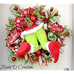 The Grinch Christmas Wreath- Holiday Wreath- Deco Mesh Wreath- Front Door Wreath
