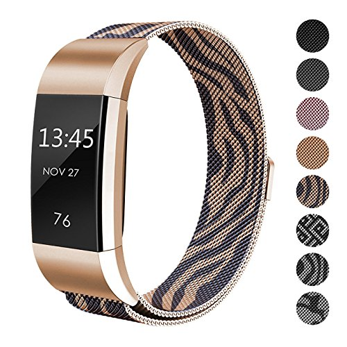 SWEES Metal Bands Compatible Fitbit Charge 2, Replacement Small (5.5 - 8.5) Stainless Steel Metal Magnetic Wristband Watch Band for Women, Black, Rose Gold
