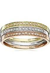10k Tri-Colored Gold and Diamond Stacking Rings (1/4 cttw, J-K Color, I2-I3 Clarity), Set of 3
