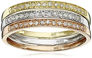 10k Tri-Colored Gold Diamond Stack Ring (1/4 cttw, J-K Color, I2-I3 Clarity), Set of 3, Size 8