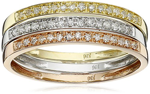 Gold Diamond Stack Ring (10k Tri-Colored Gold Diamond Stack Ring (1/4 cttw, J-K Color, I2-I3 Clarity), Set of 3, Size 6)