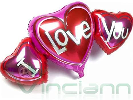 Globo Balón hinchable 3 corazones I Love You Corazón San Valentín ...