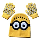 Basket Hill Watches and Gifts Despicable Me Minion Warm Knit Winter Hat and Gloves For Girls or Boys (Fits 3-9yr Olds)