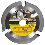 """Bestgle 3 Teeth 5"""" Angle Grinder Disc Wood Carving Disc Wheel Circular Saw Blade with 7/8"""" Arbor for Wood Board,MDF,Chipboard and Laminate"""
