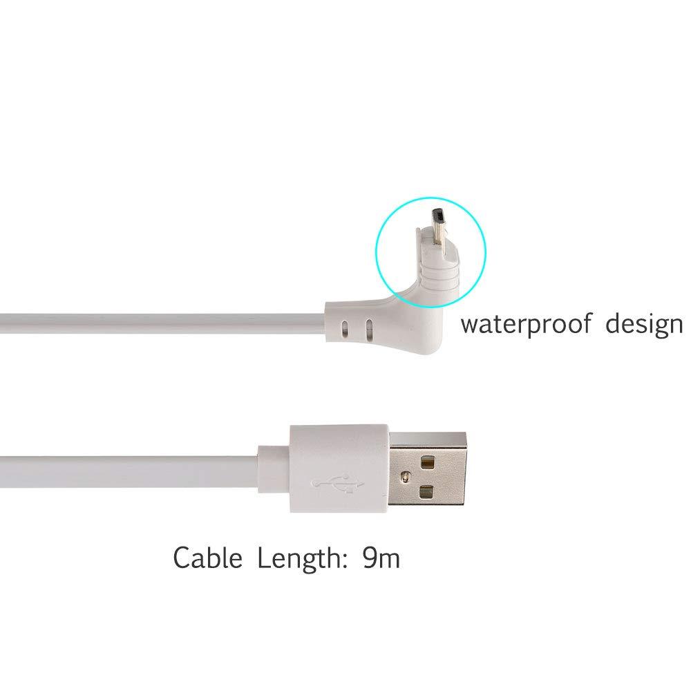 29.5ft//9m Cable Cable de Carga Arlo Pro BECEMURU Cable a Prueba de Intemperie de 29.5 pies//9 m para Arlo Go Blanco Arlo Pro//Pro2 y Arlo Light