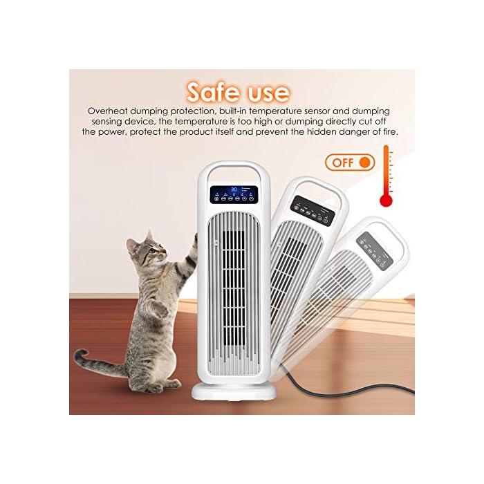 51uL%2B1gTvEL 🔥 3 Modos para Todas las Estaciones 🔥: este calentador de ventilador tiene 3 modos para elegir: modo de alta temperatura de 2000 W, modo de baja temperatura de 1000 W y diseño de modo de ventilador de 45 W, nuestro calentador puede proporcionar calefacción y viento natural en cada temporada, y cumplirá con los requerimientos de su familia. 🔥 Control de Temperatura Constante 🔥: Cuando la temperatura ambiente excede el valor establecido 3 ℃, la calefacción se detendrá y el ventilador dejará de funcionar. Cuando la temperatura ambiente vuelva al valor establecido, el calentador se encenderá automáticamente. El rango de temperatura es: 16-30 ° C, puede elegir la temperatura más cómoda para usted. 🔥 Calentamiento Rápido 🔥: con el elemento calefactor cerámico PTC, el calentador puede calentarse rápidamente en 2 segundos, con mayor eficiencia y mayor vida útil. Muy adecuado para su hogar, oficina y otros espacios. Hay un interruptor antivuelco en la parte inferior del calentador. No se puede usar en la alfombra. Debe colocarse en un piso plano o duro.