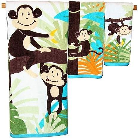 3 piezas punta de la mano juego de toallas de baño Mono Jungle Palm Tree: Amazon.es: Hogar