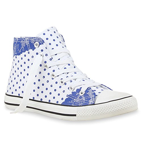 Trendy Damen Sneakers Sportliche Sneaker High Stoffschuhe Camouflage Animal Print Muster Sportschuhe Flandell Weiss Blau