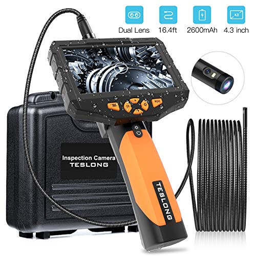 Teslong Inspection Camera, Dual Lens 4.3inch Screen Endoscope with Toughened Glass, 16.4ft Waterproof Semi-Rigid Tube Borescope Industrial Endoscope, 2600mAh Rechargeable Battery (32GB TF Card)