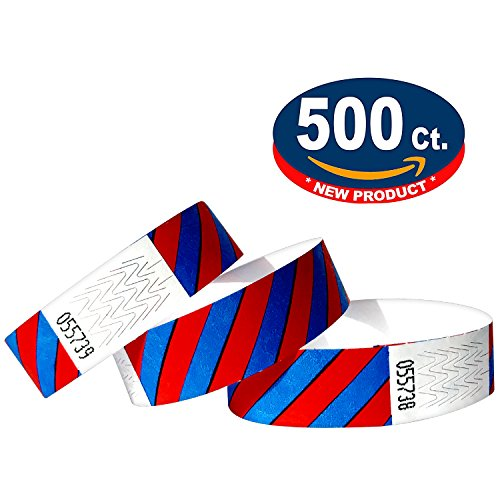 Tyvek Wristbands - Striped - 500 Pack - Neon Blue + Neon Red - 3/4'' Tyvek Wristbands for Events by Eventitems