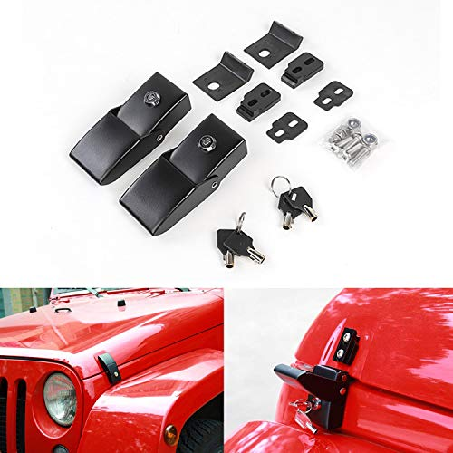 (Stainless Steel Hood Latches Hood Lock Catch Latches Kit for Jeep Wrangler JK 2007-2017 (Black))