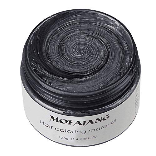 MOFAJANG Unisex Hair Wax Color Dye Styling Cream Mud, Natural Hairstyle Pomade, Washable Temporary,Party Cosplay (Black) ()