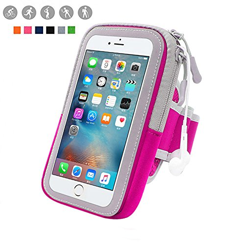 y Waterproof Outdoor Adjustable Cell Phone Bag Key Holder for iPhone 7 plus 6plus 6s plus ,Samsung Galaxy Note 5 4 3 Note Edge S5 S6 S7 Edge Plus (Rose-Pink) (Adjustable Armband)