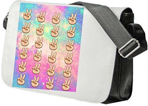 """Schultertasche """"Peacezeichen mit buntem Hintergrund"""" Schultasche, Sidebag, Handtasche, Sporttasche, Fitness, Rucksack, Emoji, Smiley"""