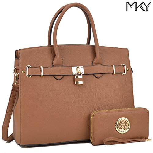 Women Large Handbag Designer Purse 2 Pieces Set Leather Satchel Removable Shoulder Strap (Crocodile Handbag)