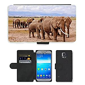 PU LEATHER case coque housse smartphone Flip bag Cover protection // M00114931 Los elefantes de África Amboseli Animal // Samsung Galaxy S5 S V SV i9600 (Not Fits S5 ACTIVE)
