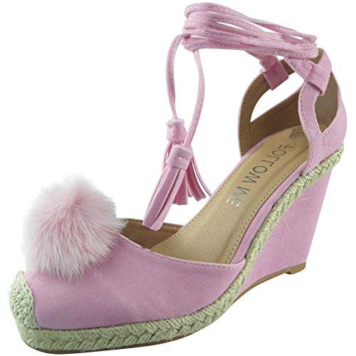 Neue Frauen Spitze Binden Fell Pom Pom Keil Schuhe Größe 36-41 Rosa