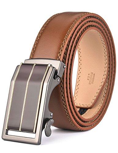 Fire Kirin Men's Leather Ratchet Dress Belt- Length is Adjustable - Delicate Gift Box