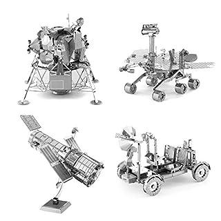 Set of 4 Metal Earth 3D Laser Cut Models: Hubble Telescope – Apollo Lunar Rover – Apollo Lunar Module – Mars Rover