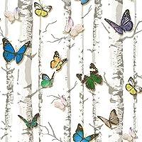 New HaokHome 63276 Birch Tree w//Butterfly Peel /& Stick Wallpaper Multicolor S..