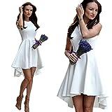 Creazy 2016 Women Sleeveless Dress Ladies Evening Party Skater Dress (S, White)
