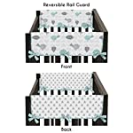 Sweet-Jojo-Designs-2-Piece-Turquoise-Blue-and-Gray-Earth-Sky-Birds-Geometric-Print-Teething-Protector-Cover-Wrap-Baby-Crib-Side-Rail-Guards