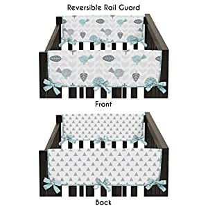 Sweet Jojo Designs 2-Piece Turquoise Blue and Gray Earth Sky Birds Geometric Print Teething Protector Cover Wrap Baby Crib Side Rail Guards