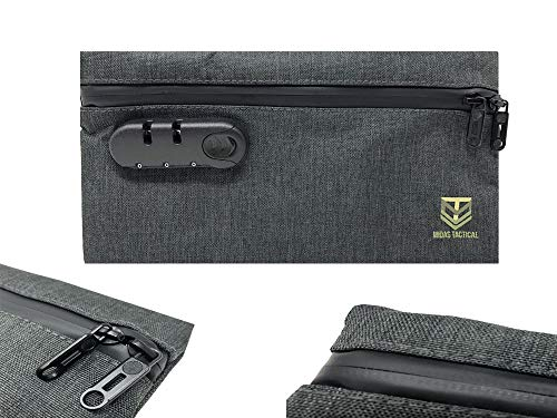 [Midas Tactical] Smell Proof Activate Carbon Bag Pouch Durable Waterproof Resistant Stash Bag with Combination Lock for Your Herbs & Smelly Accessories: Pipe, Vape, Rolling Papers (Dark Gray)
