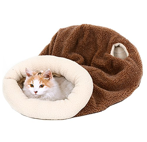 Cat Pet Bed Soft Dog House Cotton Cat Sleeping Bag with (Lambskin Soft Plush Toy)