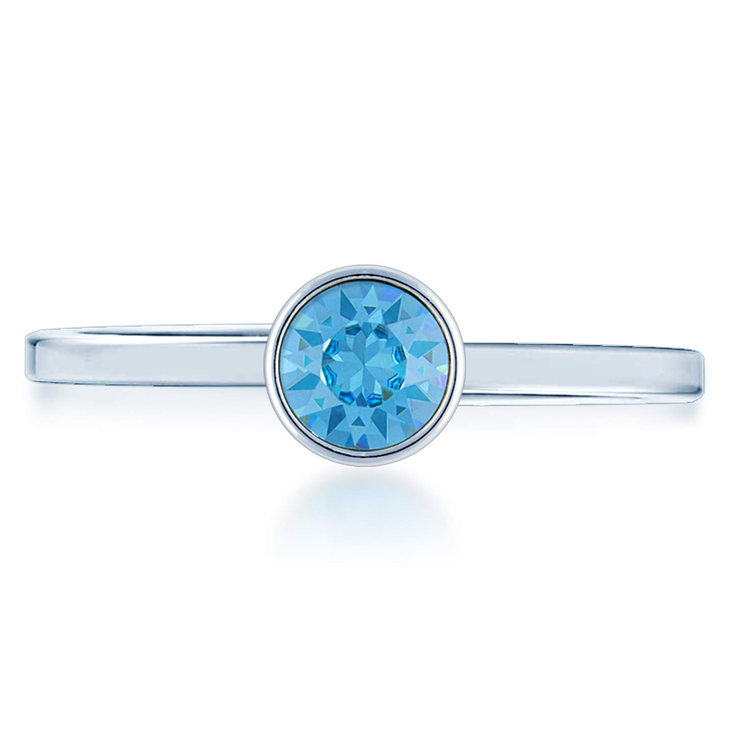 Ed Heart Adjustable Ring with Blue Aquamarine Round Crystals from Swarovski Silver Toned Rhodium Plated